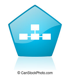 database blue pentagon web glossy icon