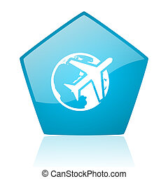 travel blue pentagon web glossy icon