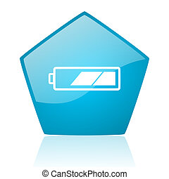 battery blue pentagon web glossy icon