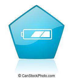 battery blue pentagon web glossy icon