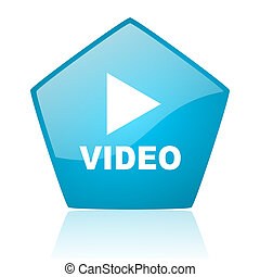video blue pentagon web glossy icon