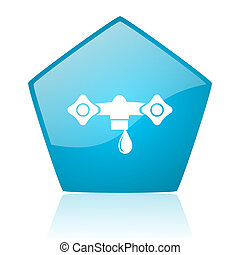 water blue pentagon web glossy icon