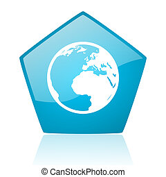 earth blue pentagon web glossy icon