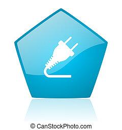 plug blue pentagon web glossy icon