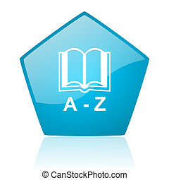 dictionary blue pentagon web glossy icon