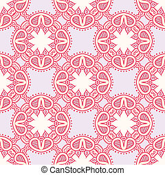 Colorful pattern with lacy ornament - Floral seamless vector...