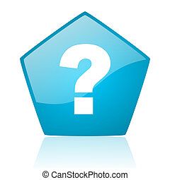 question mark blue pentagon web glossy icon
