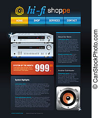 Hi-Fi Store brochure web template detailed vector