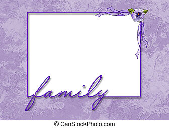 purple embossed frame - Family frame with flower with...