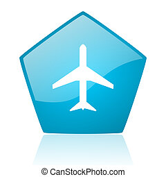 airplane blue pentagon web glossy icon