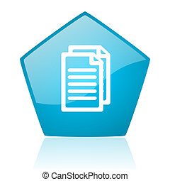 document blue pentagon web glossy icon