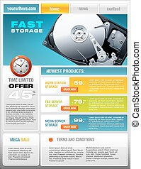 HDD Hard Disk promotional brochure, detailed vector