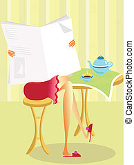 Reading Morning Newspaper vector