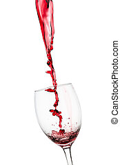 Strange splash od red wine in to glass on white background