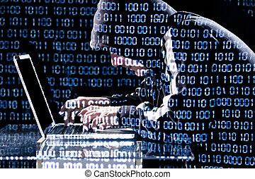 hacker, digitando, laptop