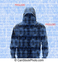 Silhouette of a hacker isloated on white with binary codes...