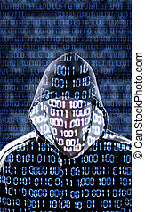 Hacker looking directly to the camera - Hacker with binary...