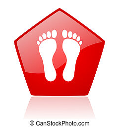 footprint red web glossy icon