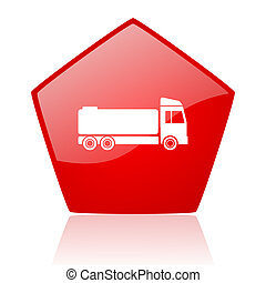 truck red web glossy icon