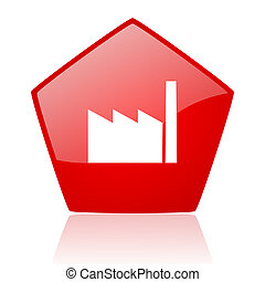 industry red web glossy icon