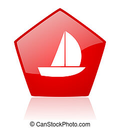 yacht red web glossy icon