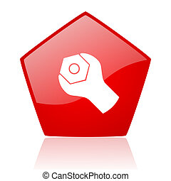 tools red web glossy icon