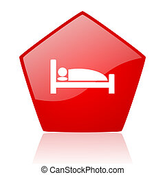 hotel red web glossy icon