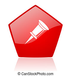 pin red web glossy icon