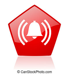 alarm red web glossy icon