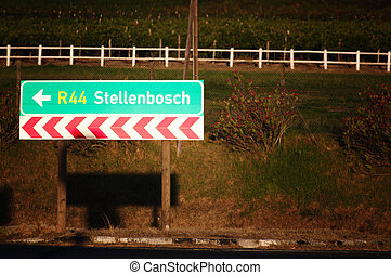 Stellenbosch, South Africa - Road sign indicating...