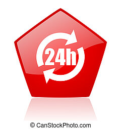 24h red web glossy icon