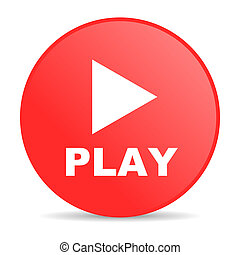 play red circle web glossy icon