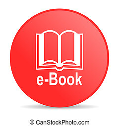 e-book red circle web glossy icon