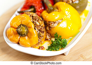 Stuffed peppers - Roasted peppers stuffed with meat and...