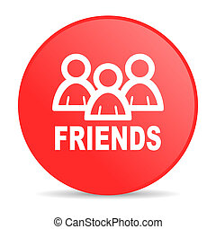 friends red circle web glossy icon