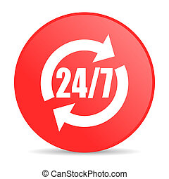 24/7 service red circle web glossy icon