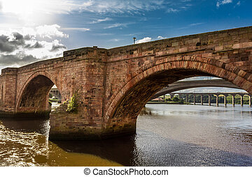Old stone bridge in Scotland in summer