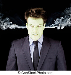 Furious businessman getting green face - Furious businessman...