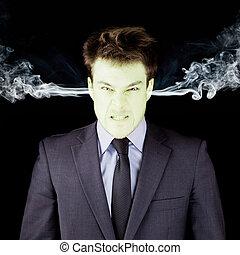 wściekły, biznesmen, Dostając, zielony, twarz