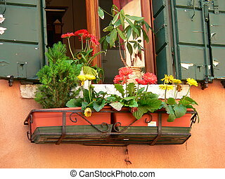 window box between two green shutters
