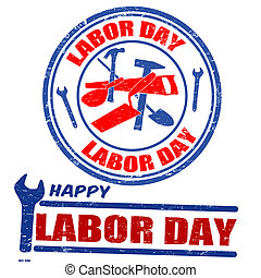 Set of labor day stamps - Set of labor day grunge rubber...