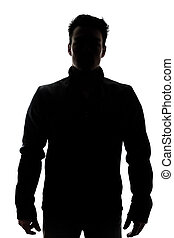 Male figure in silhouette wearing a vest isolated on white...