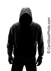Mysterious man in silhouette isolated on white background