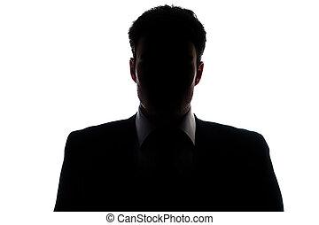 Businessman silhouette wearing a suit - Businessman portrait...