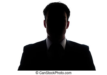 Businessman portrait silhouette and a misterious face