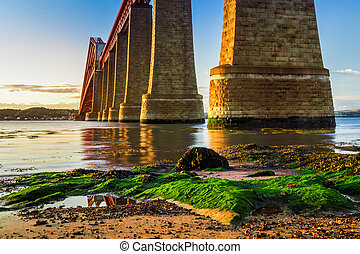 River and sunset over Forth Road Bridge in Scotland