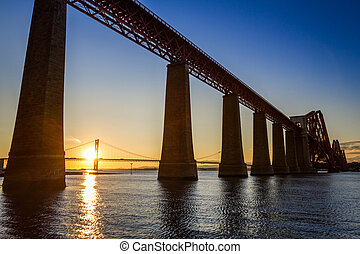 Sunset between the two bridges in Scotland in summer