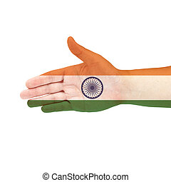 India flag on hand isolated on white background