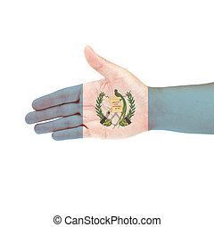 guatemala, bandera, mano, aislado, blanco, Plano de fondo