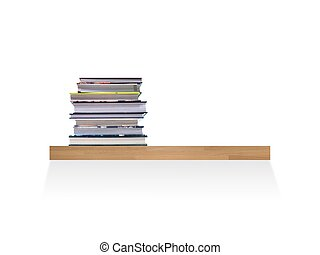 Book Shelf - A wooden book shelve isolated against a white...